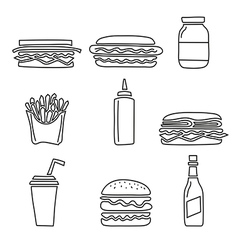 Fast food set vector