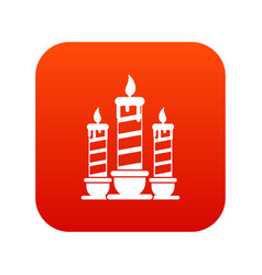 festive candles icon digital red vector image