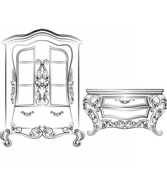 Glass case and commode table vector image vector image