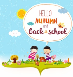 Goodbye summer hello autumn funny and happy vector