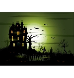 Greeny Halloween haunted mansion background vector image