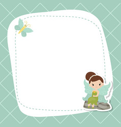 greeting card with cute fairy greeting card with vector image vector image