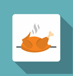 Grilled chicken on a grill icon flat style vector