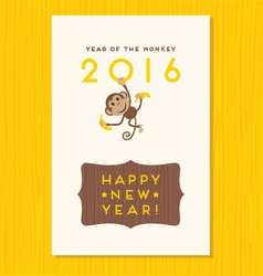 Happy new year card design with cute monkey vector