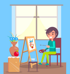 Kid sits in room and paint still life picture vector