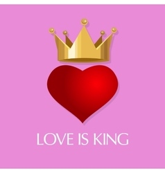 Love is king crown heart queen vector