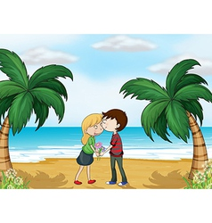 Lovers at the beach vector image vector image