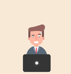 man working at a laptop and worries over the work vector image vector image