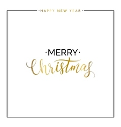 Merry Christmas gold text and happy new year vector image vector image