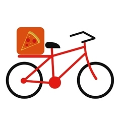 Pizza food delivery bicycle vector