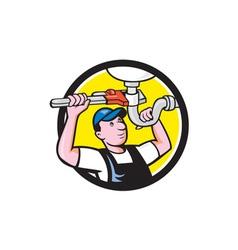 Plumber repairing sink pipe wrench circle cartoon vector