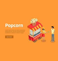 popcorn conceptual isometric web banner vector image vector image