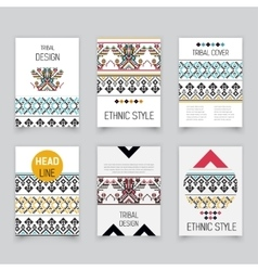 Set of geometric tribal Aztec pixel flyers vector image vector image