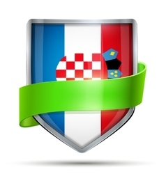 Shield with flag croatia and ribbon vector