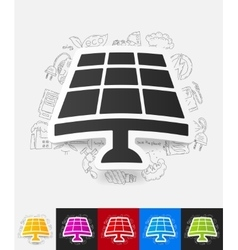 solar battery paper sticker with hand drawn vector image