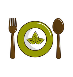 Spoon fork and plate with leaves vector
