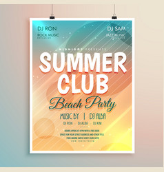 Summer beach party banner flyer template design vector