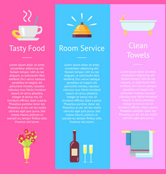 Tasty food room service and clean towel posters vector