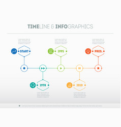 Timeline infographic with icons and buttoms - vector
