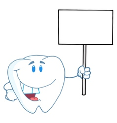 Tooth Character Holding Up A Small Blank Sign vector image