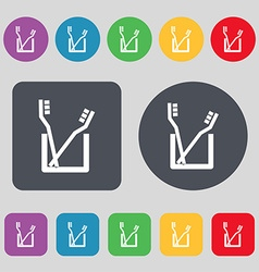 Toothbrush icon sign a set of 12 colored buttons vector