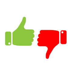 vote thumbs up icon in red and green make a vector image vector image