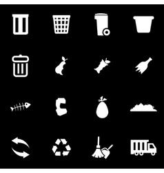 White garbage icon set vector