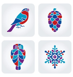 Winter mosaic icons vector