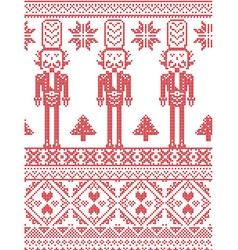 Scandinavian printed textile pattern with soldier vector