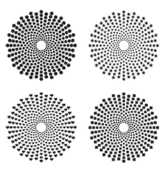 Halftone circles of dots stars squares heart vector