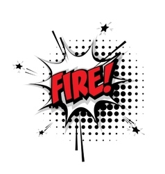 Comic text fire pop art bubble vector