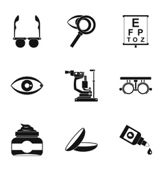 Eye exam icons set simple style vector