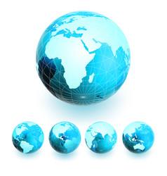 Set of earth globe vector