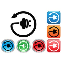 Electric plug button icons set vector