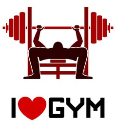 I love gym symbol vector