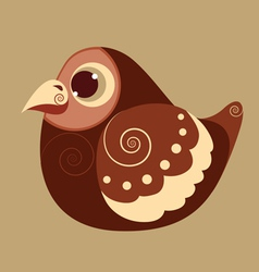 Fat bird cute abstract prehistoric color vector
