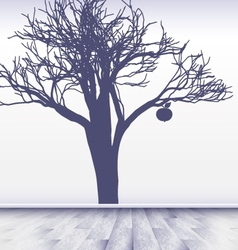white room with image of apple tree vector image