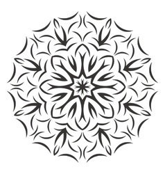 Round black flower pattern on white background vector image