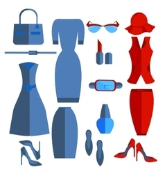 Set isolated womens clothing and accessories dress vector