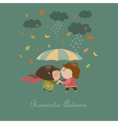 Boy and a girl kissing under umbrella vector