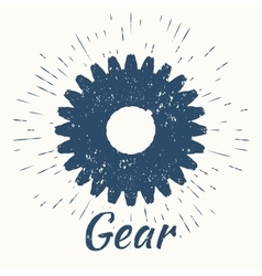 Gear and vintage sun burst frame vector