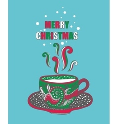 Hand drawn christmas cup with hot drink vector