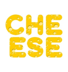 Cheese letters of yellow cheese texture vector