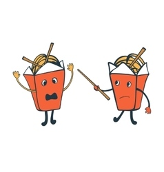 Funny characters chinese food boxes fighting vector