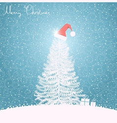 Christmas tree blue background blue vector image