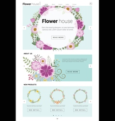 Floral website template banner and infographic 3 vector