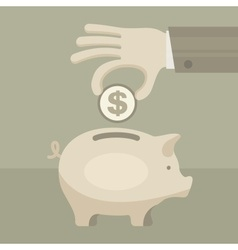 Piggy coin bank in hand vector