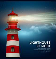 Realistic lighthouse in the night sky background vector