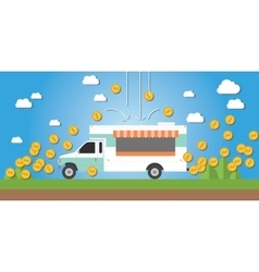 Food truck business money gold coin vector