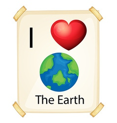 A poster showing the love of earth vector